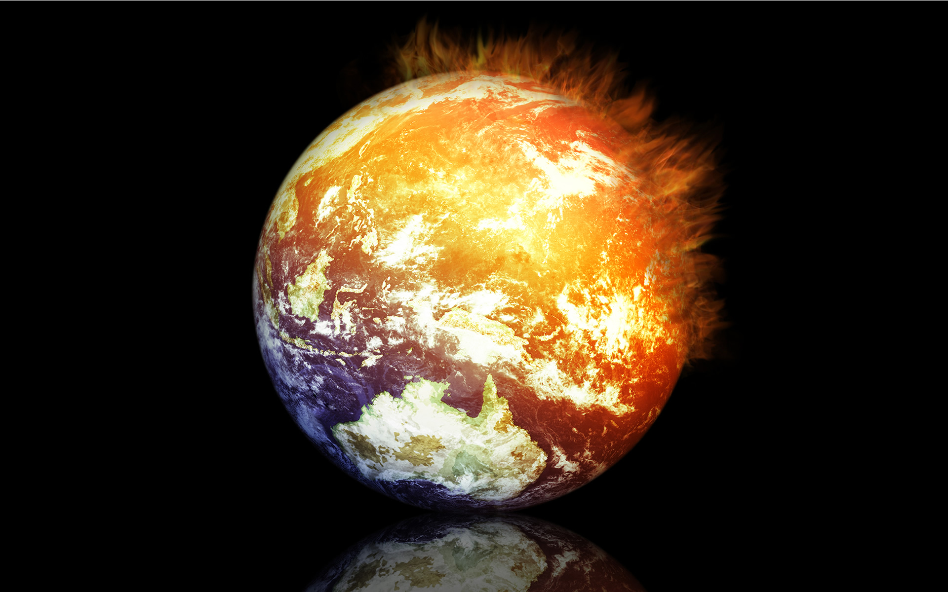 Digital Art Burning Earth