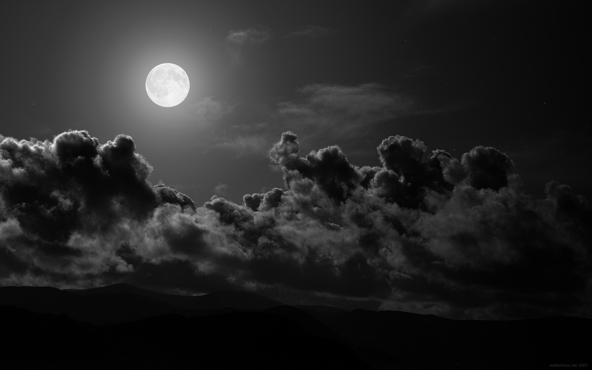 Clouds Landscapes Dark Moon