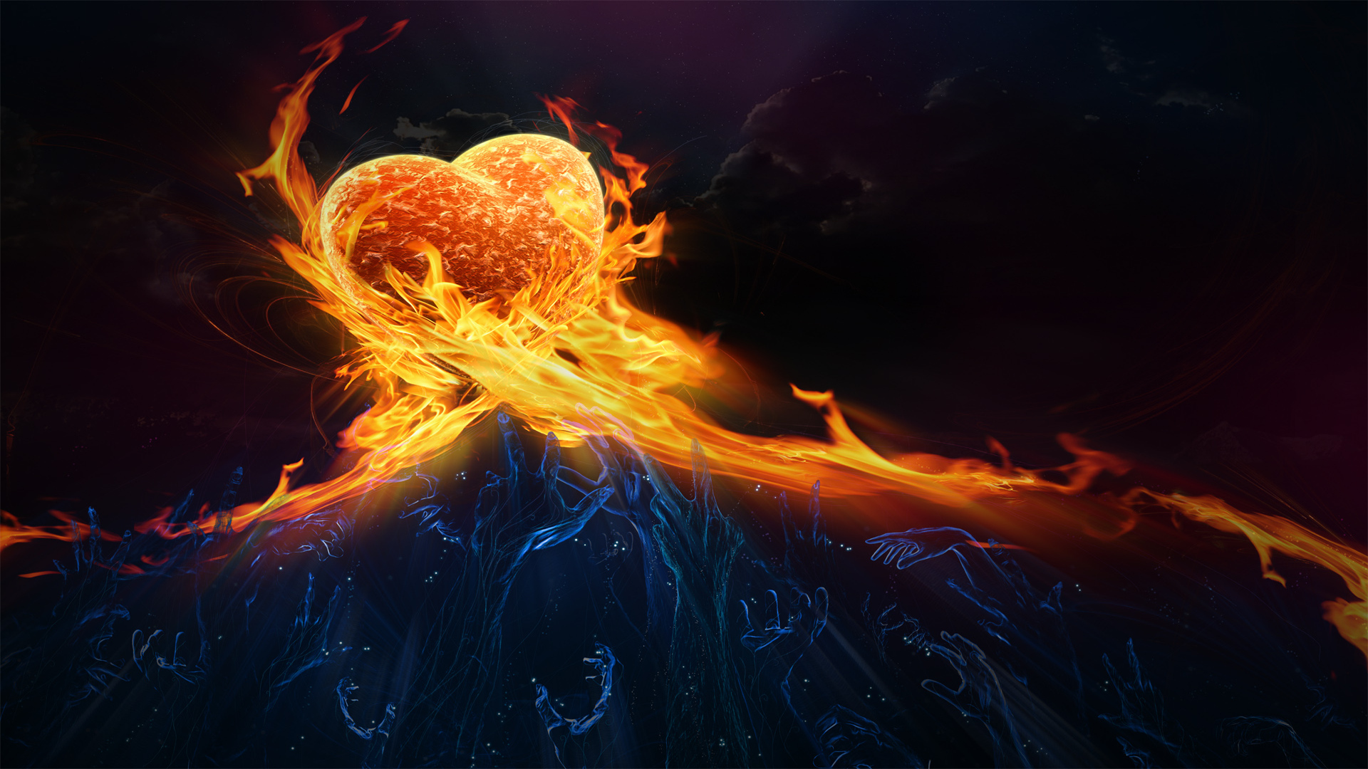 Abstract Clouds Love Fire Fantasy Art Hearts