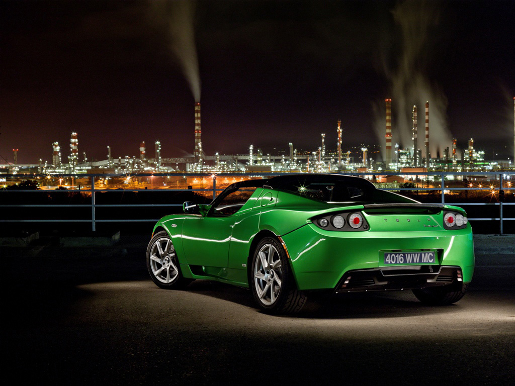 Green Tesla Roadster