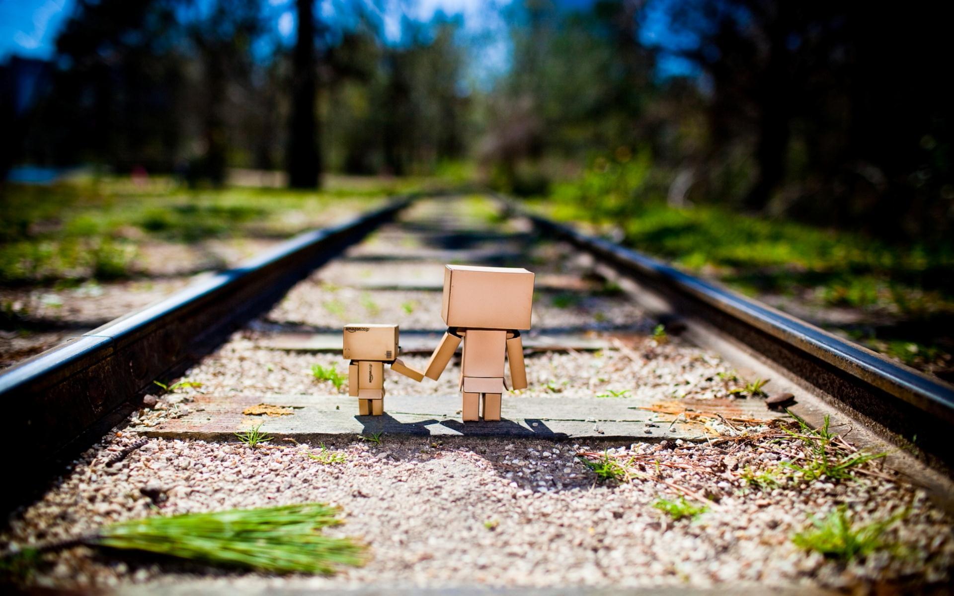 Robot Cardboard Together Railroads