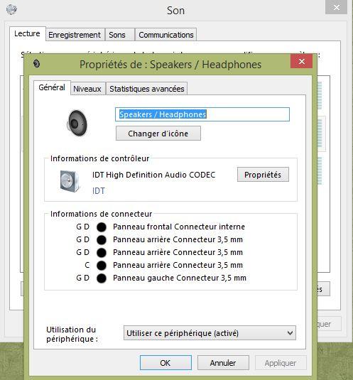 panneau de configuration idt audio