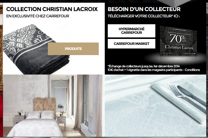 carrefour linge de maison christian lacroix. Black Bedroom Furniture Sets. Home Design Ideas
